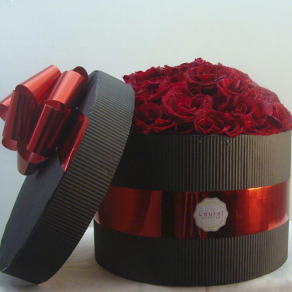 Caja Black Sexy de Rosas Rojas