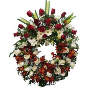Corona funebre rojo con blanco