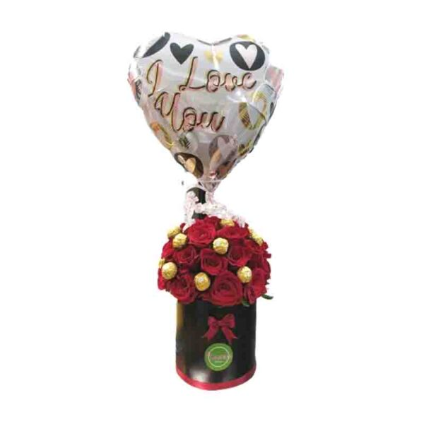 Caja de Rosas con Bombones Ferrero y Globo