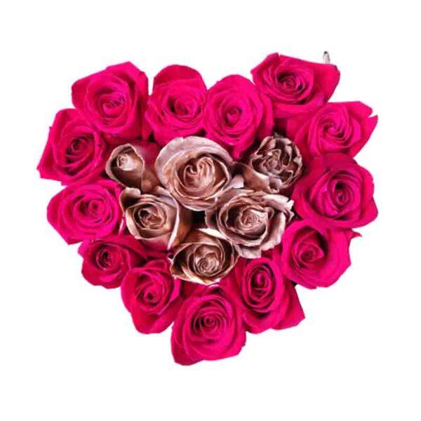 Corazon de rosas rojas y rosas Doradas
