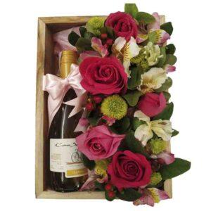 Bandeja de rosas con Vino