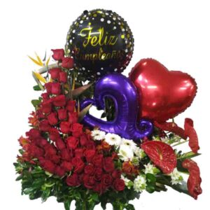 Arreglo de 80 rosas rojas y globos
