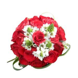Bouquet de Rosas rojas y estrellas de belen