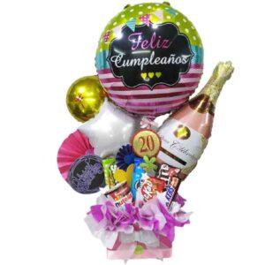 arreglo de globo y chocolates