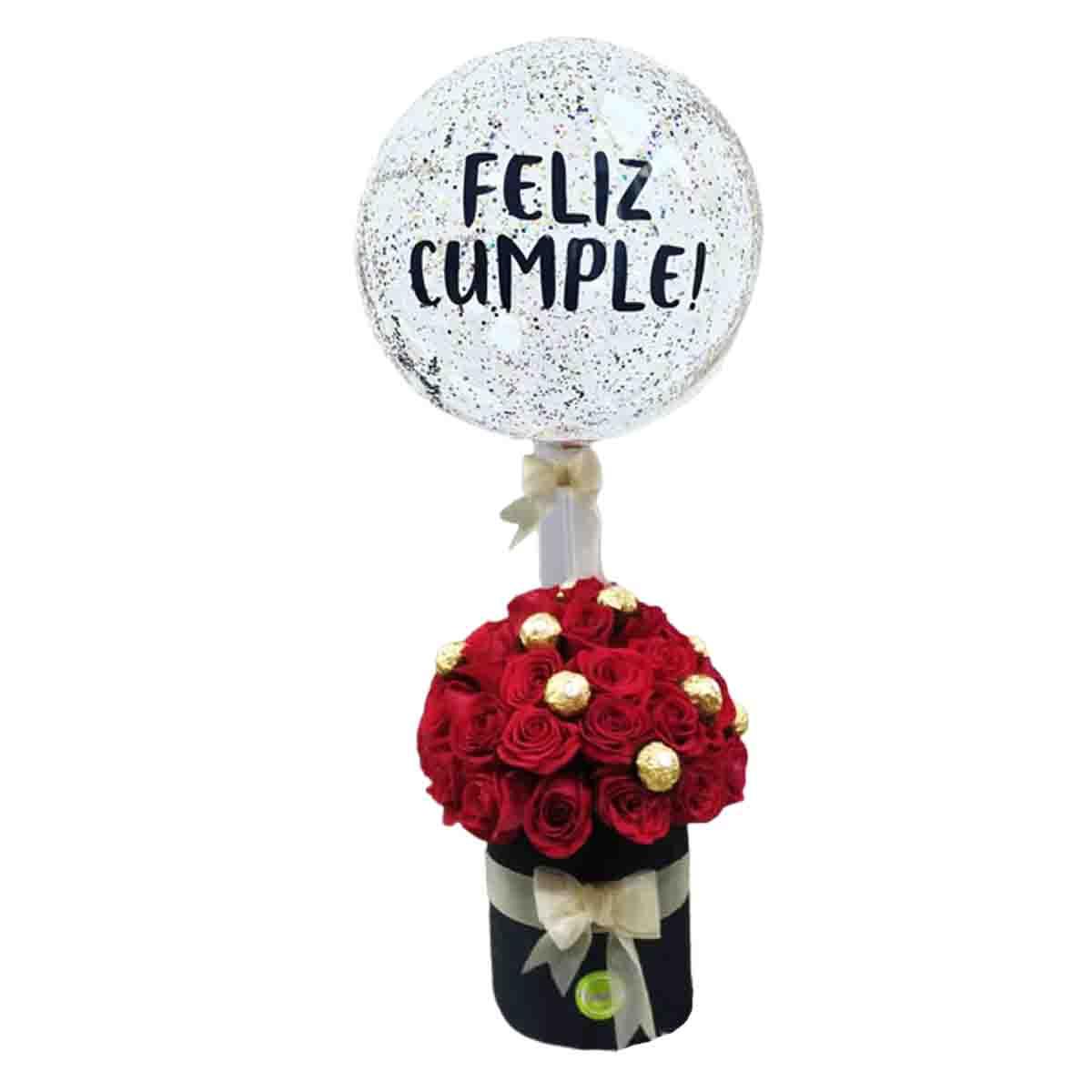 Caja de rosas bombones y globo burbuja